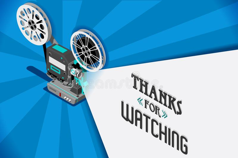 Cinema movie vector video clip. Cinema movie title screen concept. Thanks for watching. Vector design with retro looking movie projector with film reels and stock illustration
