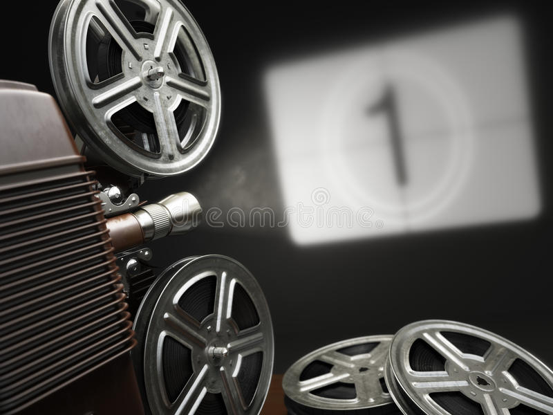 Cinema, movie or video concept. Vintage projector with projecting blank and reels of film. royalty free illustration