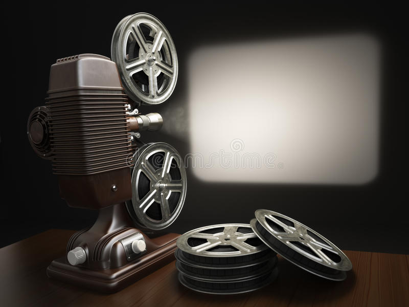 Cinema, movie or video concept. Vintage projector with projecting blank and reels of film. 3d royalty free illustration