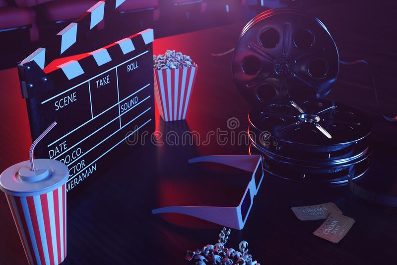 Cinema movie watching. Composition with 3d glasses, movie clapper, film reel, popcorn and filmstrip. Cinema concept wtih royalty free illustration