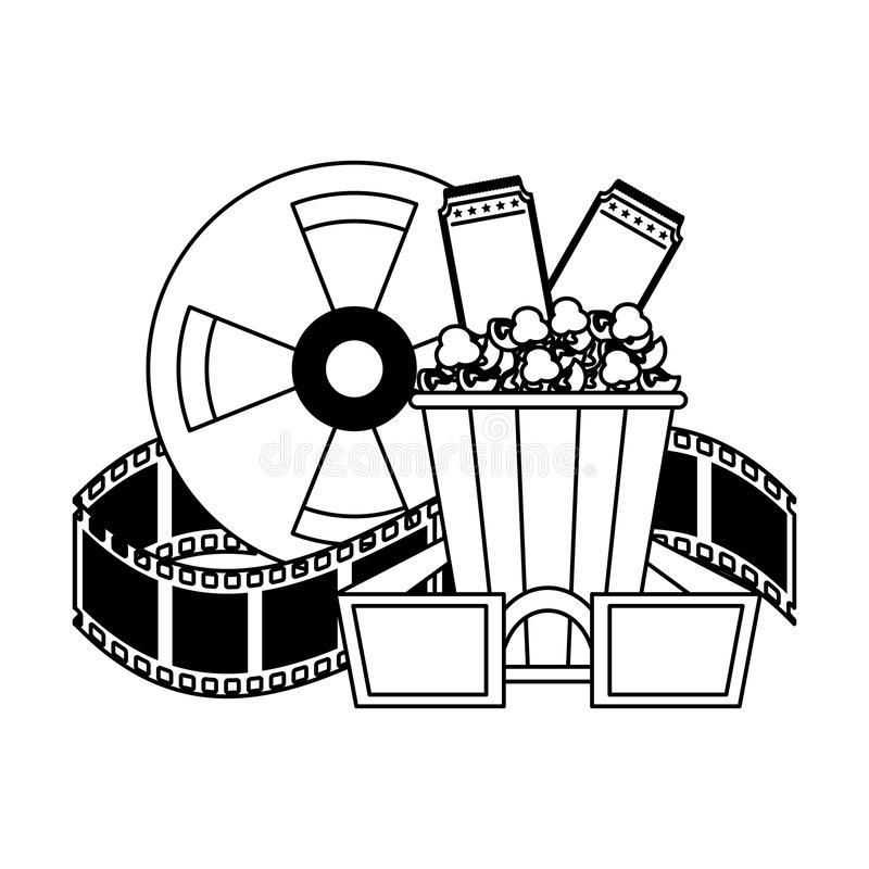 Cinema And Movies Cartoons In Black And White Stock Vector Illustration Of Record Broadcasting 145368762