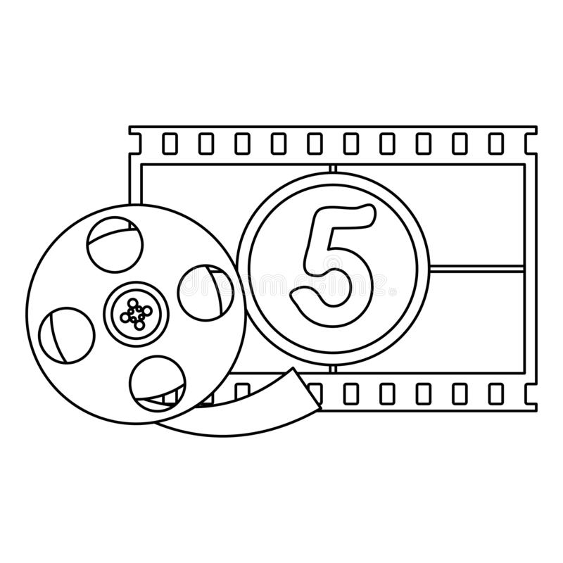 Cinema and movies entertainment black and white. Cinema and movies entertainment reel and screen projector vector illustration graphic design royalty free illustration