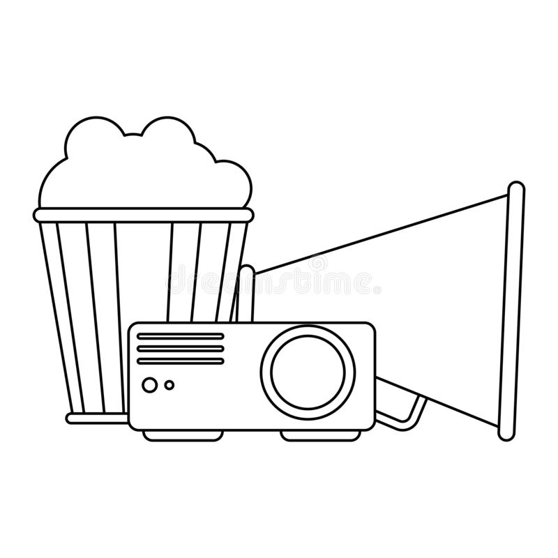 Cinema and movies entertainment black and white. Cinema and movies projector directors bullhorn and popcorn bucket vector illustration graphic design vector illustration
