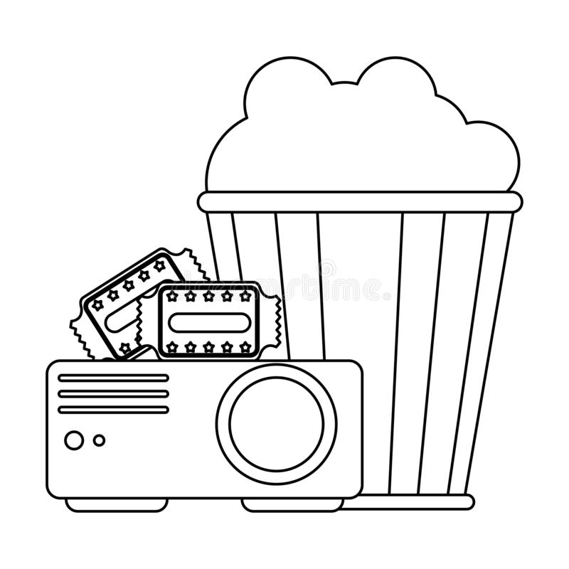 Cinema and movies entertainment black and white. Cinema and movies projector pop corn bucket and tickets vector illustration graphic design vector illustration