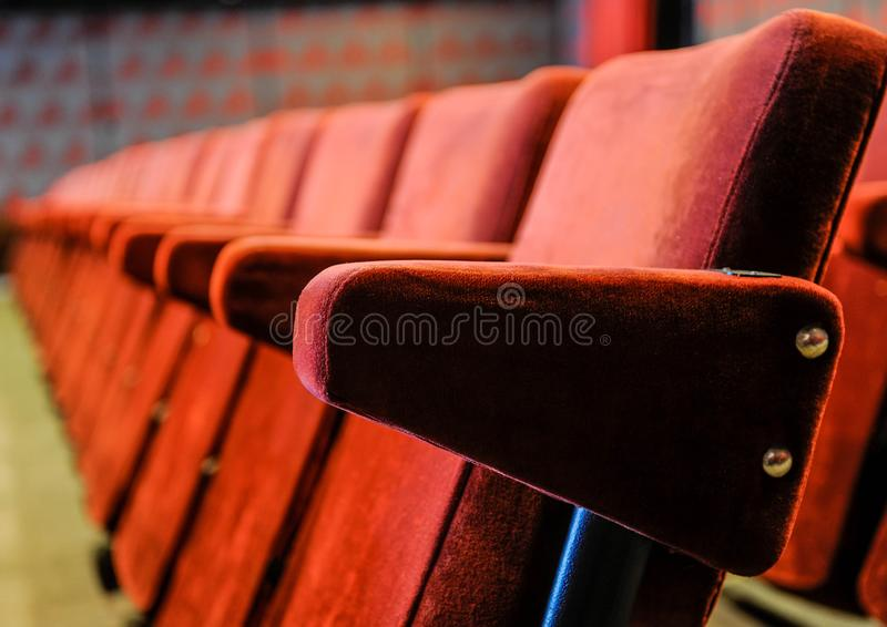 Vintage cinema hall chairs royalty free stock photo