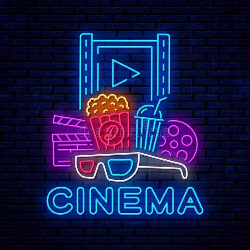 Cinema neon bright night signboard. Vector cinema banner. Bright logo, emblem and label template design. Night neon advertising. Movie logo royalty free illustration