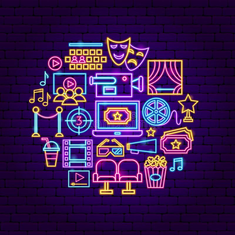 Cinema Neon Concept. Vector Illustration of Film Promotion vector illustration
