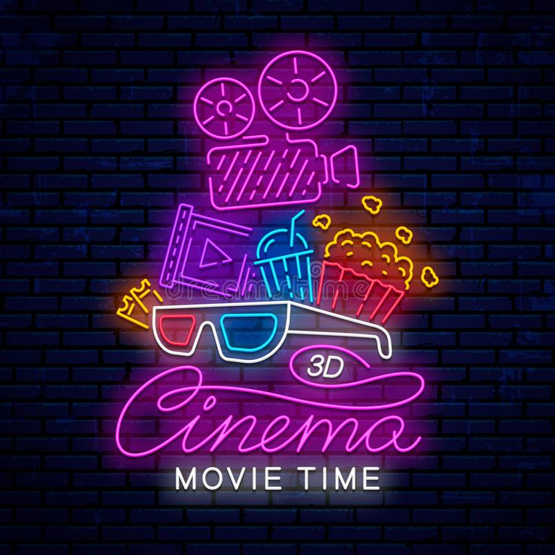 Cinema neon ready sign. Cinema neon ready sign for banner design, poster and more. Movie time, bright neon logo, emblem, icon, sign for the cinema. Vector stock illustration