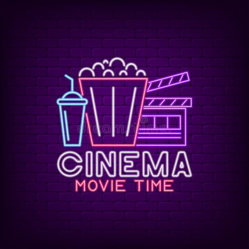 Cinema neon sign. Night Movie Time bright neon signboard, cinema logo. Vector. stock illustration