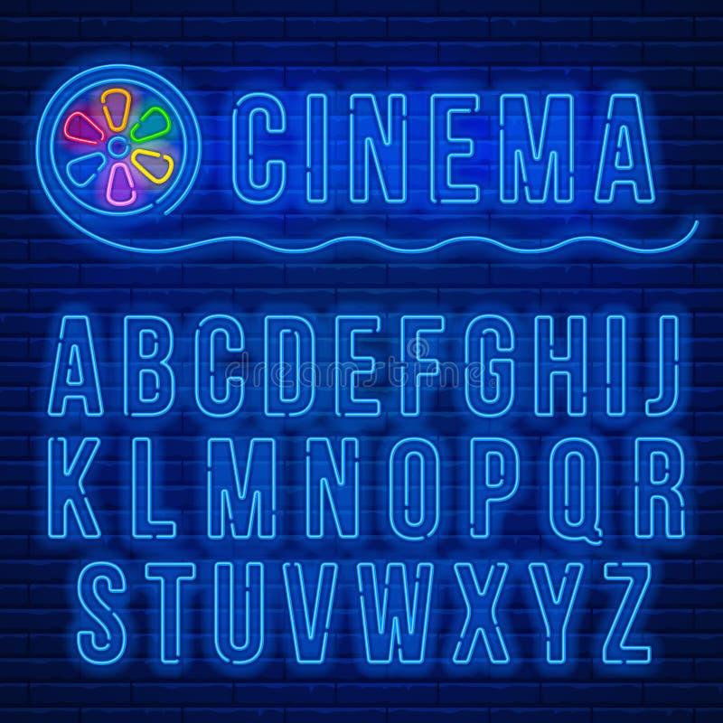 Neon latin alphabet vector illustration