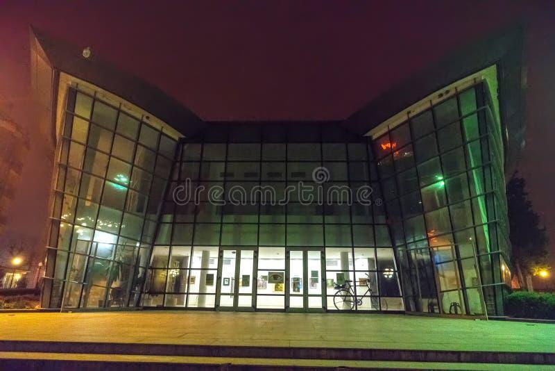 Cinema in the night misty Pomorie in Bulgaria stock photo