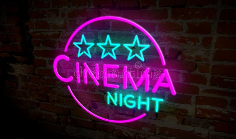 Cinema night neon. 3D flight over electric lettering on brick wall background. Entertainment event advertising 3D illustration vector illustration