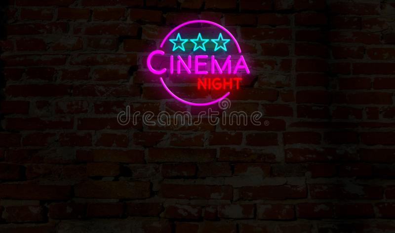 Cinema night neon. 3D flight over electric lettering on brick wall background. Entertainment event advertising 3D illustration stock illustration