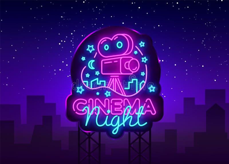 Cinema Night Neon Logo Vector. Movie Night neon sign, design template, modern trend design, night neon signboard, night. Light advertising, light banner, light vector illustration