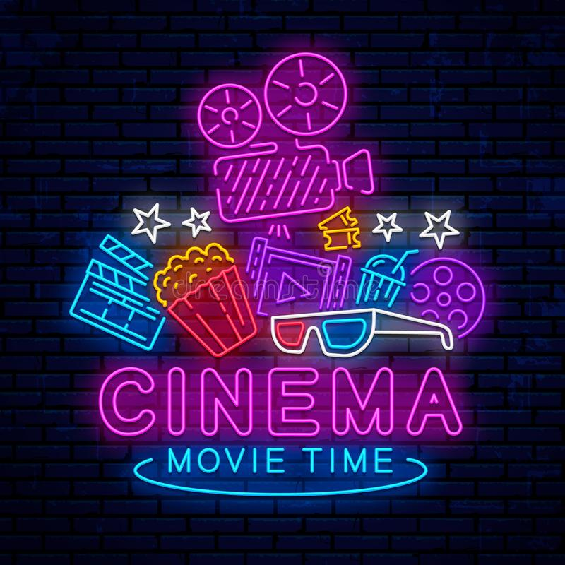 Cinema, night neon sign. Cinema, night neon sign, logo, emblem, icon for movie. Bright signboard, bright night advertising. Glowing neon cinema banner. Template stock illustration