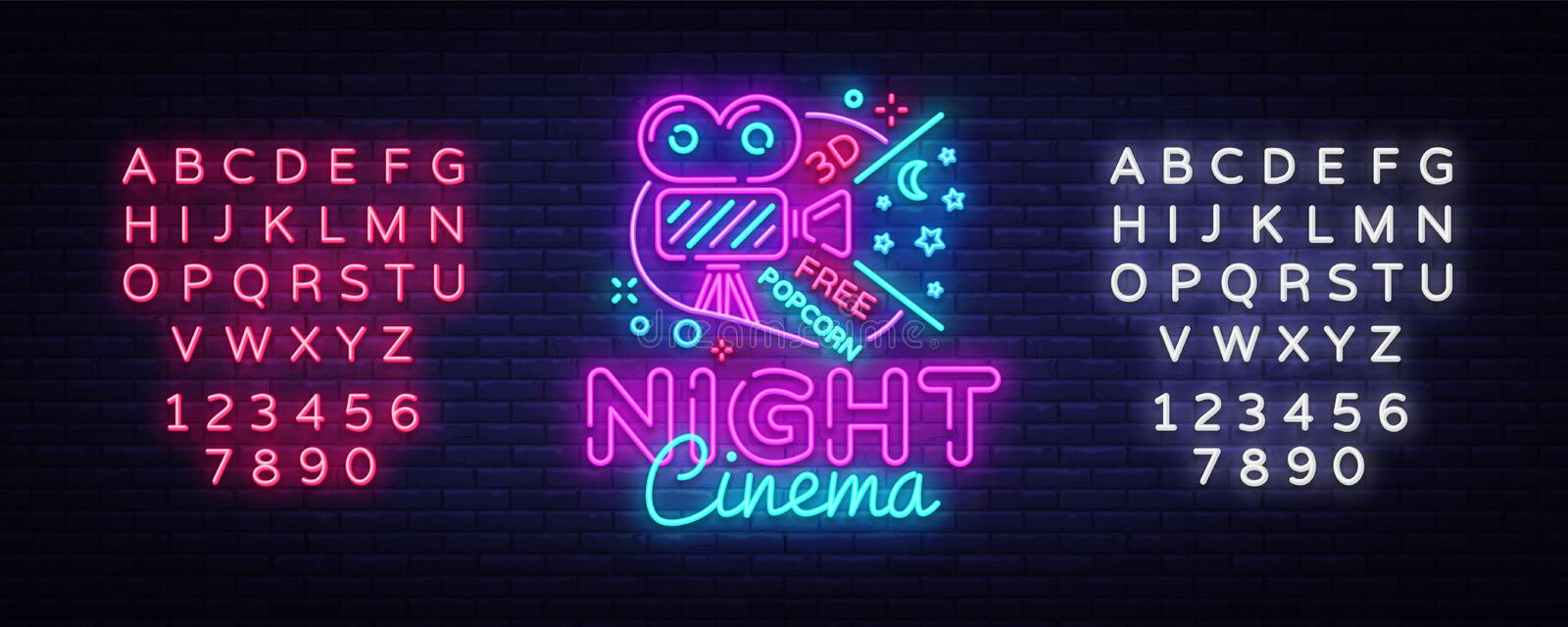 Cinema Night neon sign vector. Movie Night Design template neon sign, cinema light banner, neon signboard, nightly royalty free illustration