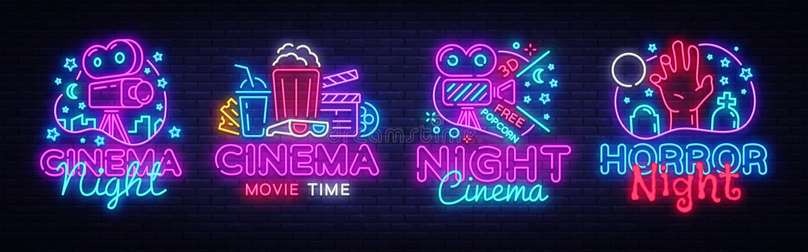 Cinema night set neon sing, label and logo. Cinema banner Design template, logo, emblem and label. Bright signboard royalty free illustration