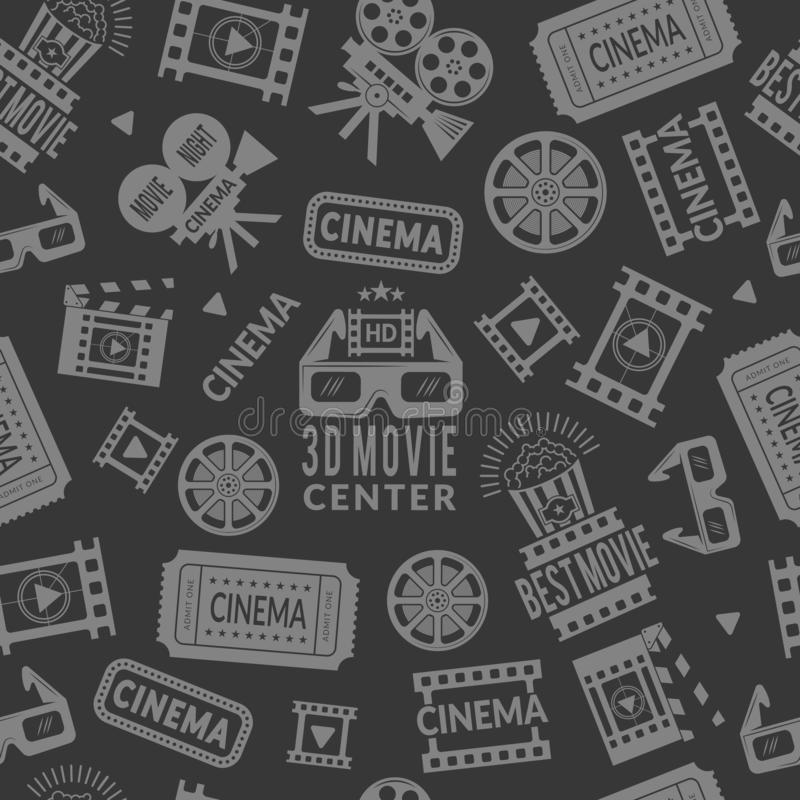 Cinema pattern. Seamless background with symbols of cinema and films production royalty free illustration