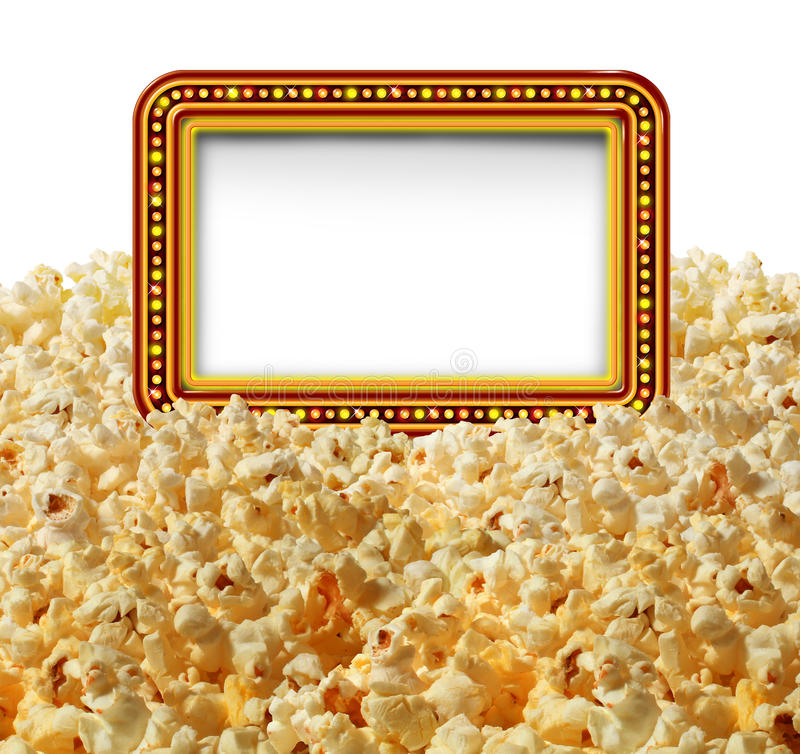 Cinema Popcorn Sign. Cinema popcorn with a blank movie marquee sign as an entertainment communication symbol for TV shows or theater performances isolated on a stock illustration