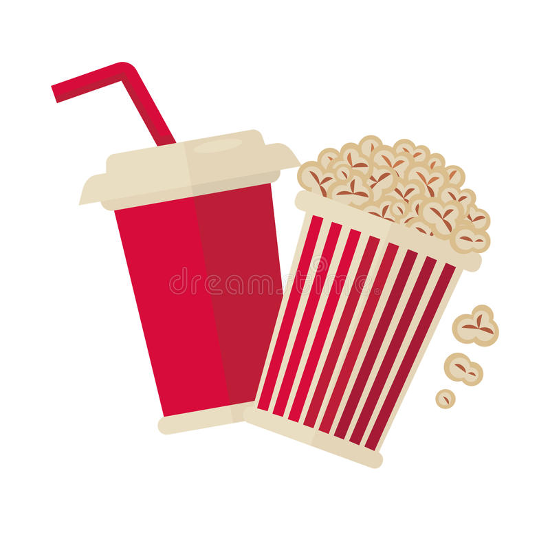 Cinema Popcorn And Soda Drink For Movie Vector Flat Icon Stock Vector Illustration Of Drink Movie 86906967