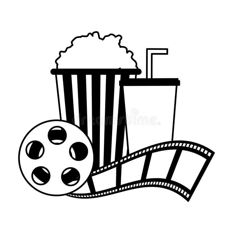 Cinema popcorn and soda reel strip movie film vector illustration