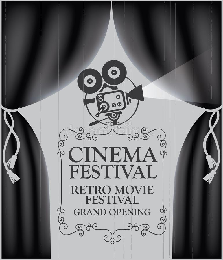 Cinema poster with black Curtains and camera. Vector cinema festival poster with black Curtains and projector lights. Movie background with words cinema retro vector illustration