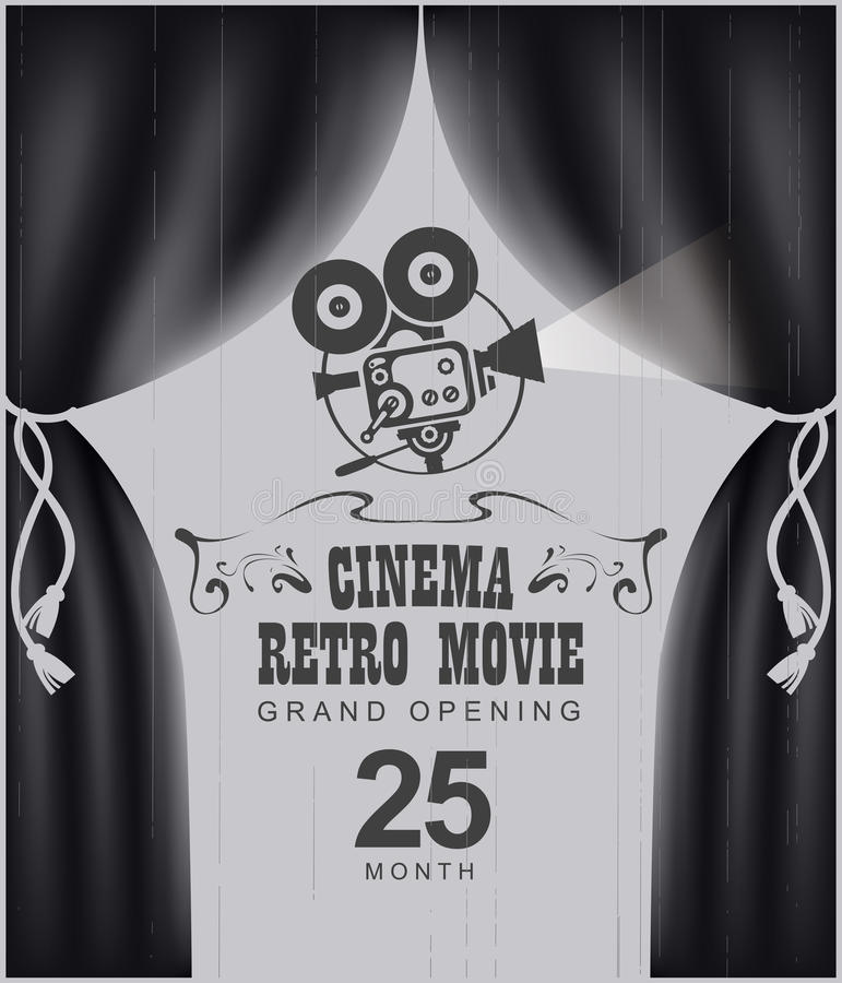 Cinema poster with black Curtains and camera. Vector cinema festival poster with black Curtains and projector lights. Movie background with words cinema retro stock illustration