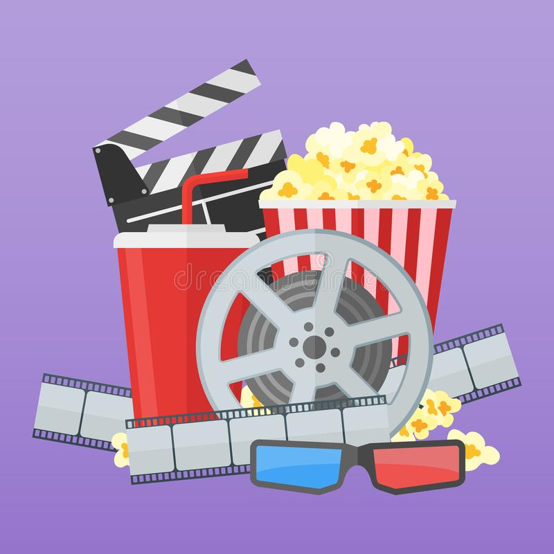 Cinema poster design template. Movie film reel and strip, popcorn, clapper board, soda takeaway, 3d glasses. vector illustration