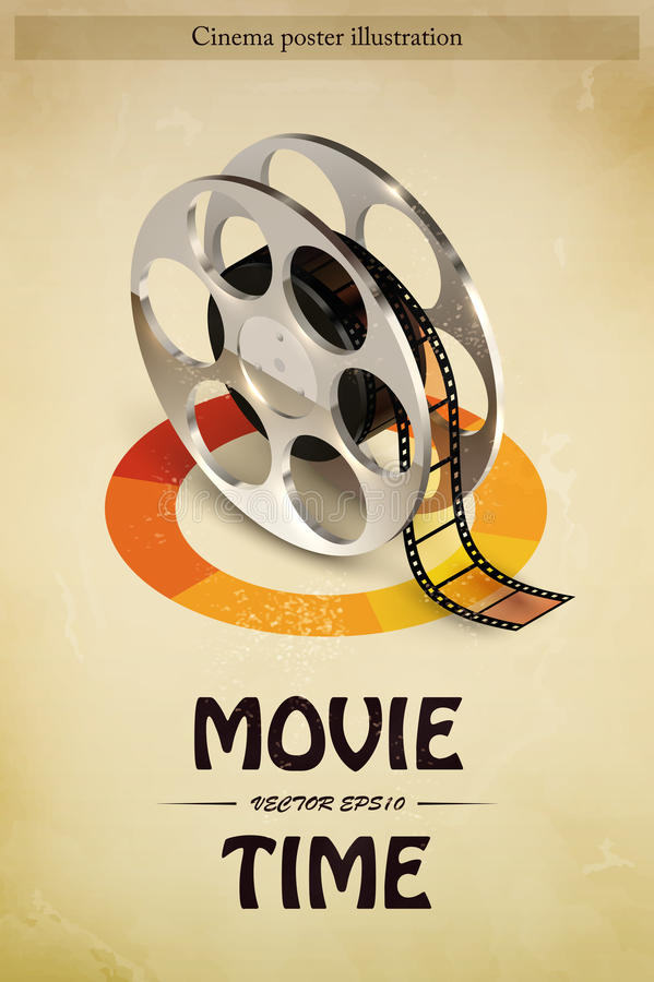 Cinema Poster Illustration. Cinema movie entertainment poster with realistic film reel vector illustration vector illustration