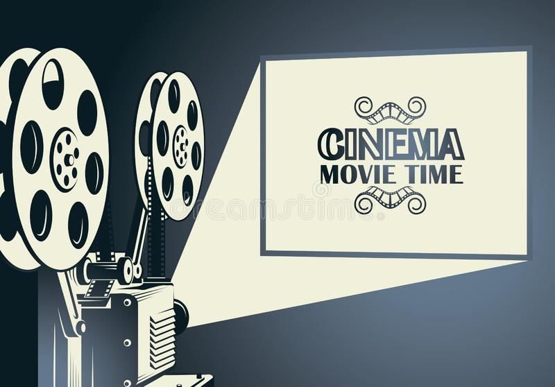 Film projector poster. Cinema poster with retro film projector background royalty free illustration