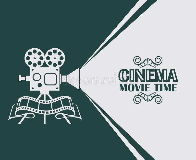 Movie projector background. Cinema poster with retro movie projector background stock illustration