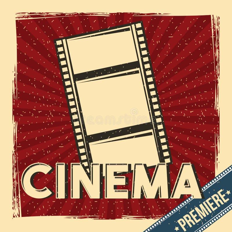 Cinema premiere festival poster retro with film strip vector illustration