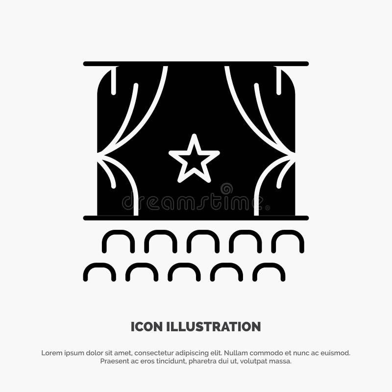 Cinema, princípio, filme, desempenho, vetor contínuo do ícone do Glyph da premier ilustração do vetor