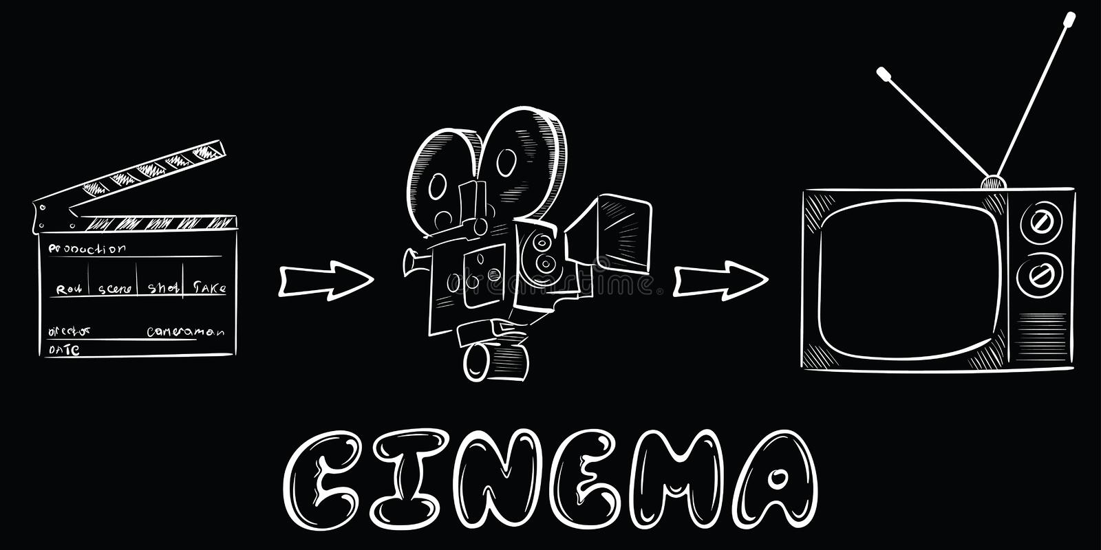 Cinema process and objects white royalty free illustration