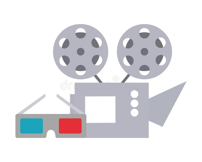 Cinema projector and cinema glasses stock illustration