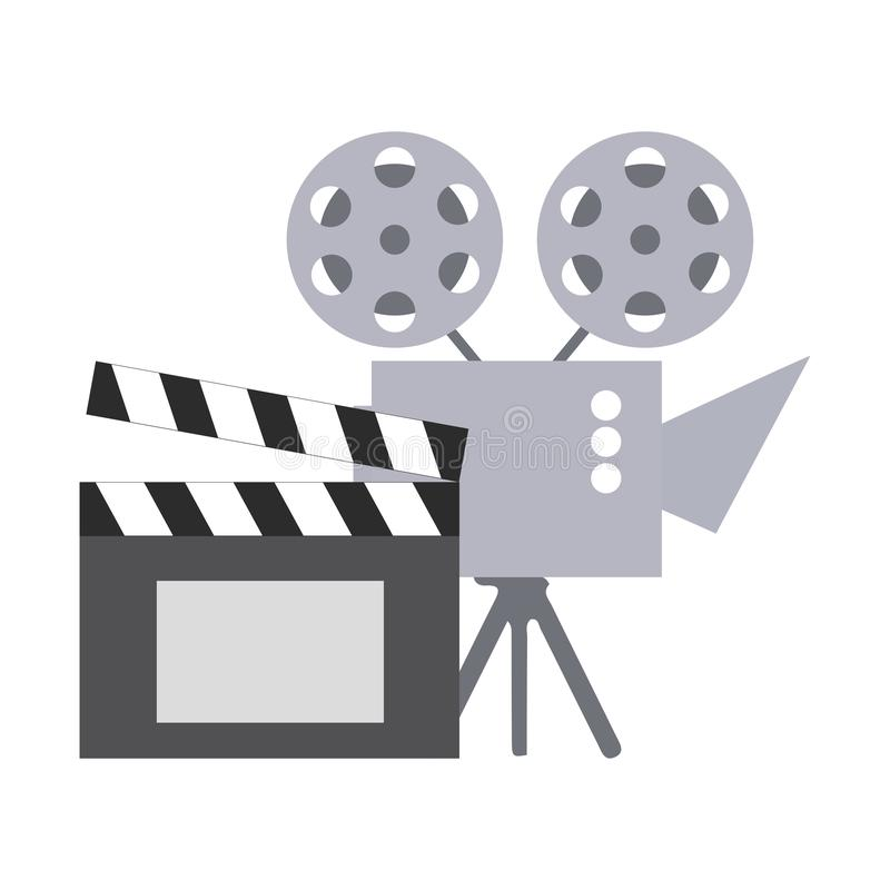 Cinema projector and clapperboard isolated icon stock illustration