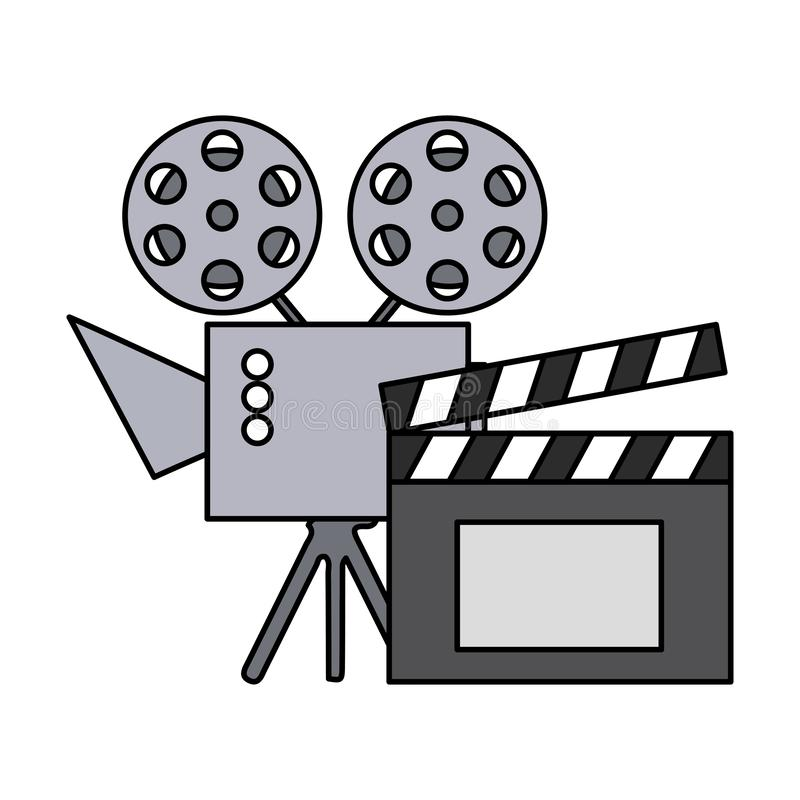 Cinema projector and clapperboard isolated icon royalty free illustration