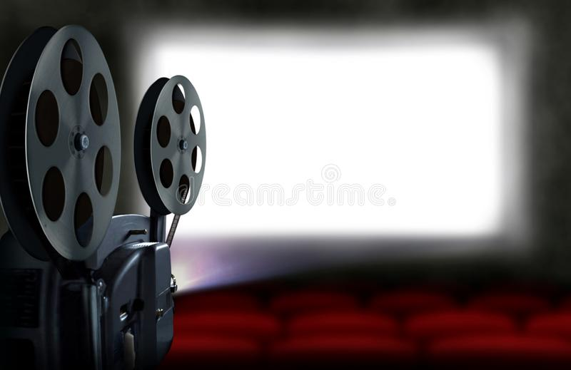Cinema projector with empty seats royalty free illustration