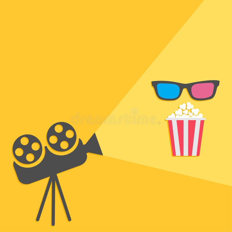 Cinema projector with light and popcorn and 3D glasses. Flat design. stock illustration