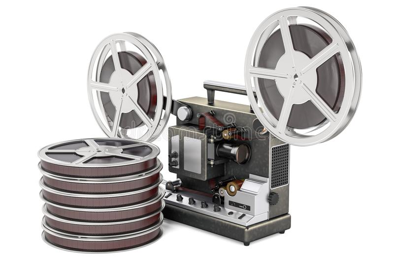 Cinema projector with movie reels. 3D rendering royalty free illustration