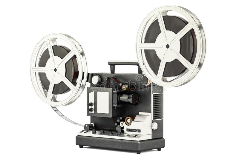 Cinema projector with movie reels, 3D rendering vector illustration