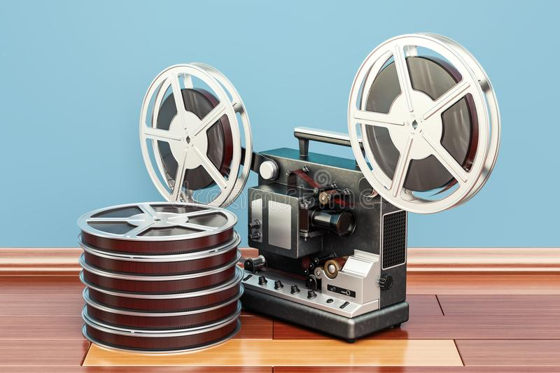 Cinema projector with movie reels on the wooden floor. 3D render stock illustration