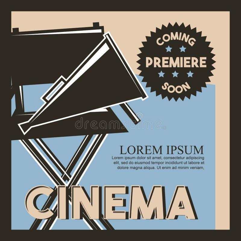 Cinema que vem logo cartaz retro clássico da premier ilustração do vetor