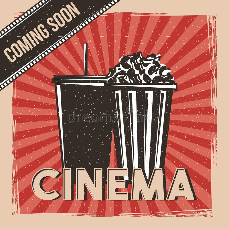 Cinema que vem logo vintage do cartaz do filme primeiro ilustração do vetor
