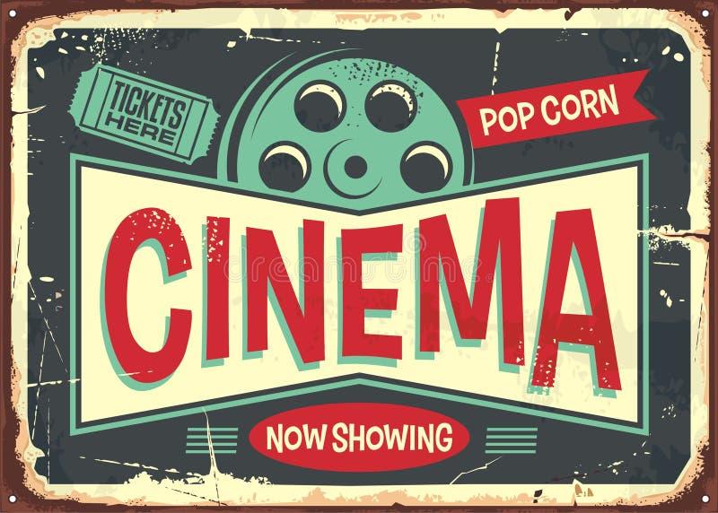 Cinema retro decorative sign layout vector illustration