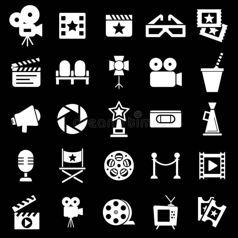 Cinema retro icons set. Cinema retro movies icons set. Template vector concept royalty free illustration