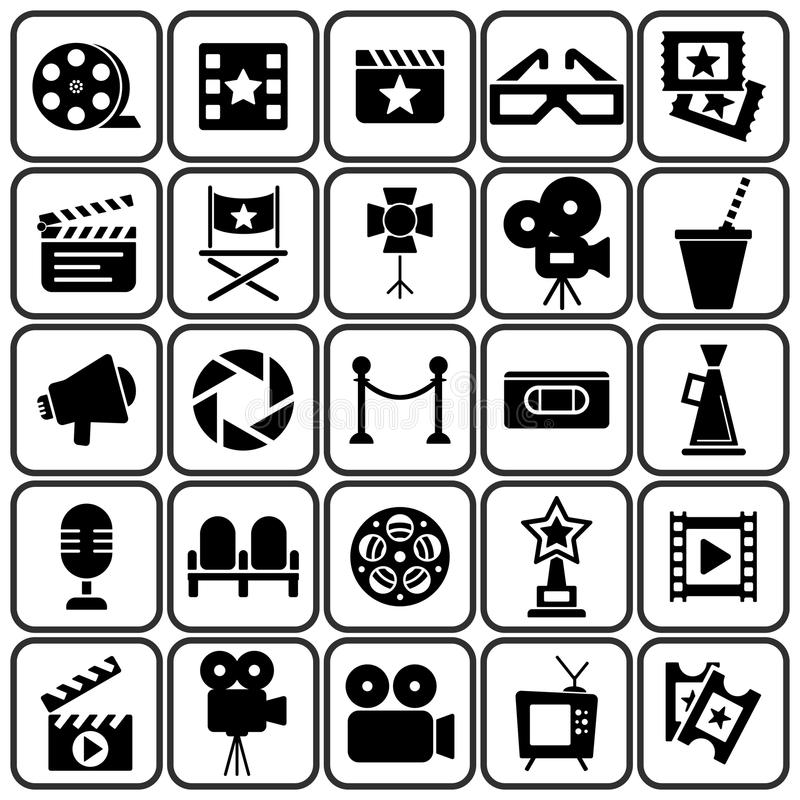 Cinema retro icons set. Cinema retro movies icons set. Template vector concept vector illustration