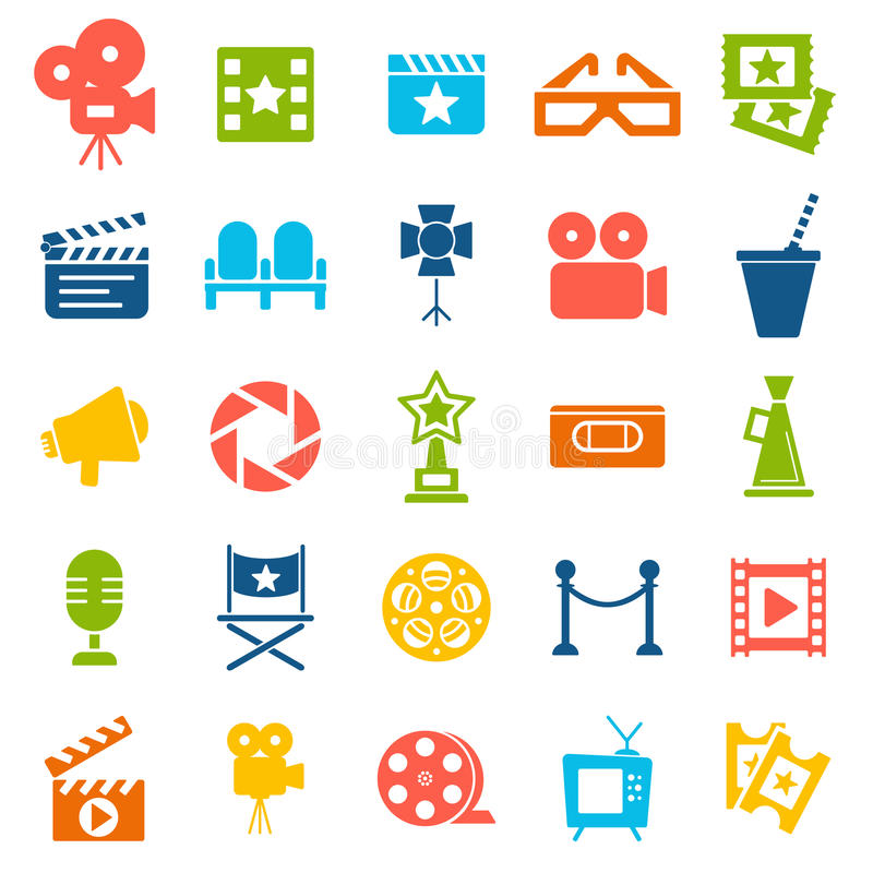 Cinema retro icons set. Cinema retro movies icons set. Template vector concept stock illustration