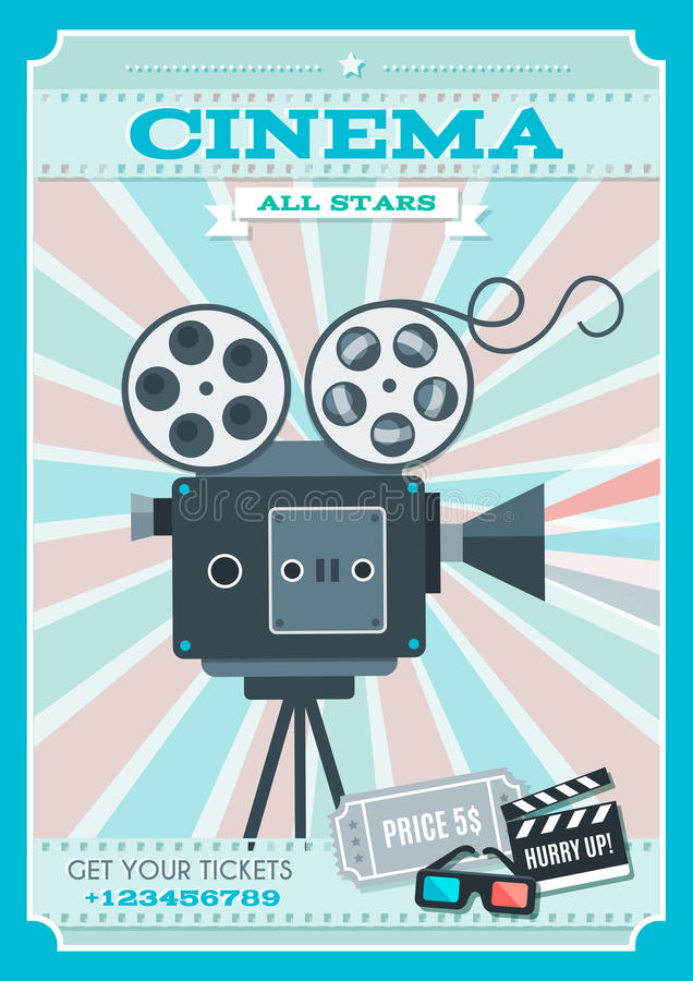 Cinema Retro Style Poster. With projector in center on background of alternating pink blue rays vector illustration stock illustration
