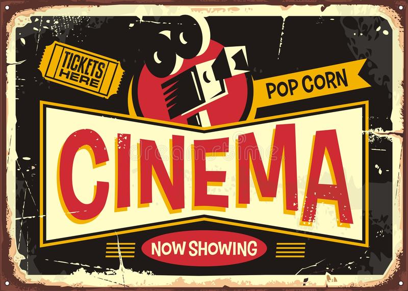 Cinema retro tin sign vector design royalty free illustration